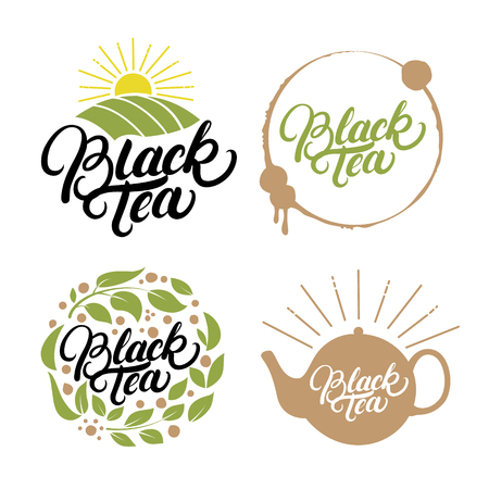 officinalis: Set of Green Tea hand written lettering logos, labels, badge, emblem. Isolated on black background. Vector illustration. Illustration