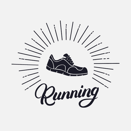 Running hand written lettering with running shoes. Logo, emblem or symbol of marathon.