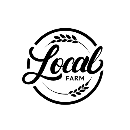 Local farm hand written lettering logo, label, badge with ear of wheat. Vintage retro style. Isolated on white background. Vector illustration.