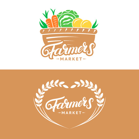 Set of Farmers Market hand written lettering logos, labels, badges, emblems. Vintage retro style. Isolated on background. Vector illustration. Illustration