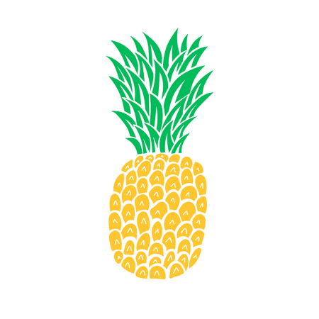 Pineapple tropical fruit. Symbol of summer, holidays, juice. Isolated on background. Vector illustartion.