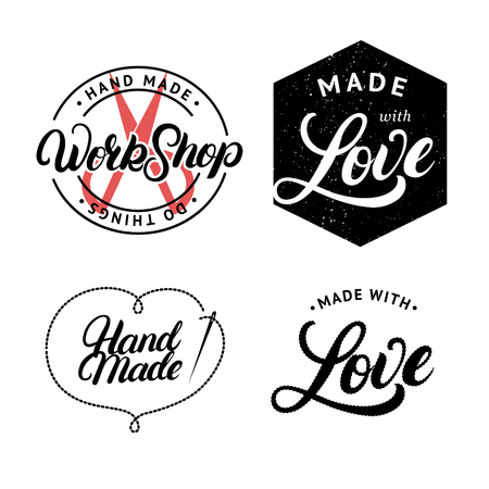 sew tags: Set of hand made hand written lettering logo, label, badge, emblem. Made with love. Sign for knitwear company, sewing workshop, handmade artist. Isolated on background. Vector illustration.