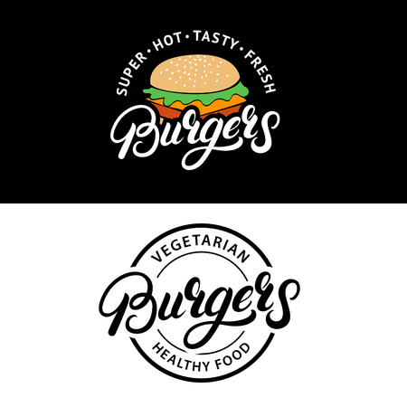 Set Burgers hand written lettering logos, badges, labels, emblems. Vintage retro style. Vector illustration.