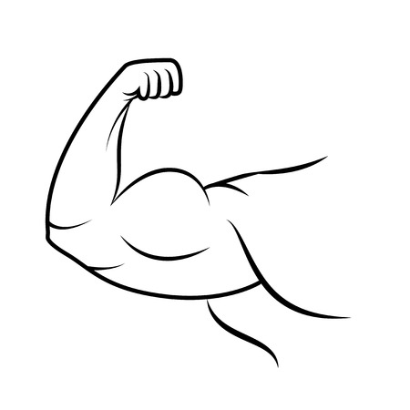 strenght: Strong arm icon. Bodybuilder muscle. Line art. Power. Vector illustration. Illustration