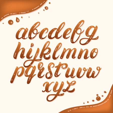 Hand written lowercase alphabet made of caramel. Modern calligraphy. Font style. Brush font isolated on background. Vector illustration.