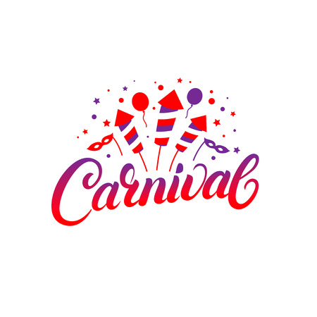 Carnival hand written lettering background. Colorful template with baloons, masks, fireworks for card, poster, print. Isolated on white background. Vector illustration. Illustration