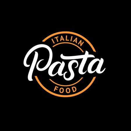 Pasta hand written lettering logo, label, badge, emblem. Modern calligraphy for italian food. Vintage retro style. Isolated on background. Vector illustration.
