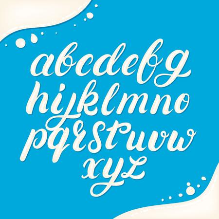 Hand written lowercase alphabet made of milk. Modern calligraphy. Font style. Brush font isolated on background. Vector illustration. Illustration