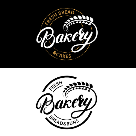 Set of Bakery hand written lettering logo, label, badge, emblem. Vintage retro style. ar of wheat. Isolated on background. Vector illustration. Illustration