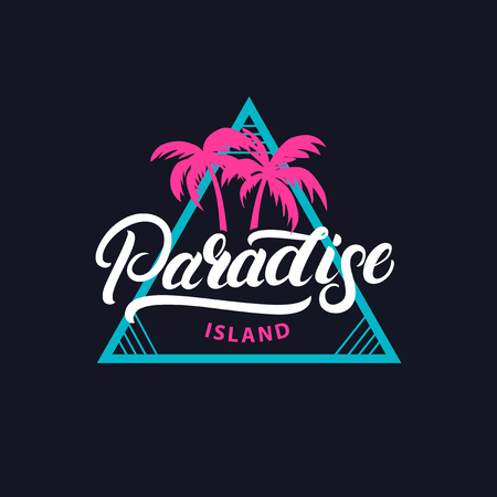 Paradise island hand written lettering tee print. 80s retro vintage tee print. Dark background. Vector illustration. Çizim