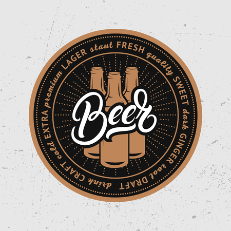 Beer hand written lettering. Coaster for beer, bierdeckel, beermat for bar, pub, beerhouse. Vector Illustration. Çizim