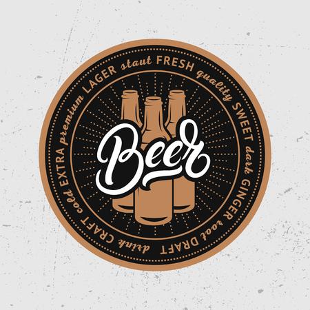 Bier handgeschreven letters. Coaster voor bier, bierdeckel, bierviltje voor bar, pub, bierhuis. Vector illustratie. Stock Illustratie
