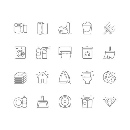 Ensemble de 20 icônes de ligne de nettoyage. Contient des icônes telles que toilettes, papier hygiénique, essuie-tout, nettoyant, lessive, fer à repasser, aspirateur et bien plus encore. 64x64 pixels parfait. Illustration vectorielle
