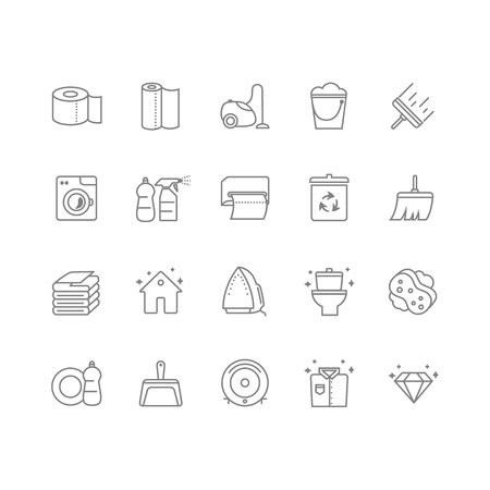 Set of 20 cleaning line icons. Contains icons such as a toilet, toilet paper, paper towels, a cleaner, laundry, iron, vacuum cleaner and much more. 64x64 pixel perfect. Vector illustration. Vettoriali