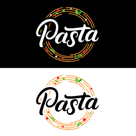 Set of Pasta hand written lettering logo, label, badge, emblem. Illustration