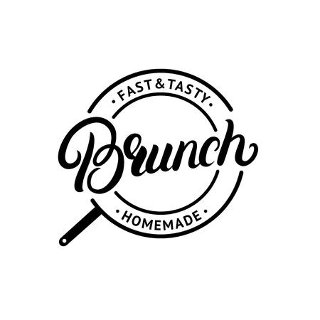 Brunch hand written lettering logo, label, emblem, sign. Vintage style. Isolated on background. Vector illustration Illustration