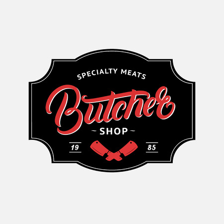ショップ手書き文字のロゴ、ラベル、バッジ、エンブレムを肉屋します。ヴィンテージ レトロなスタイル。ショップ、カバー、ステッカー、印刷や
