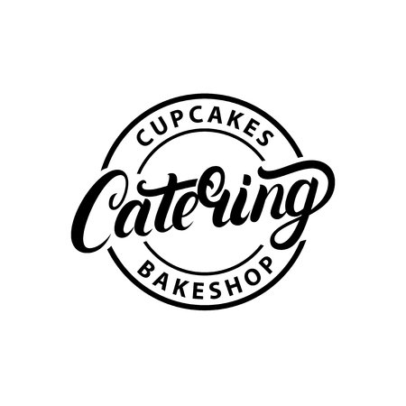 Catering company hand written lettering logo, label, emblem. Vintage retro style. Isolated on white background. Vector illustration. Illustration