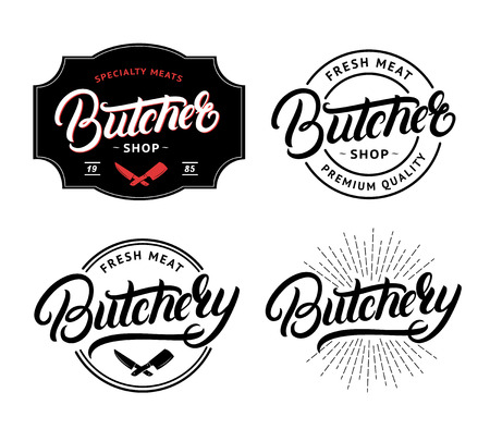 Set van slagerij en slagerij handgeschreven belettering logo, label, badge, embleem. Sjabloon voor winkel, dekking, sticker, afdrukken, zakelijke werken. Vintage retro-stijl. Vector illustratie
