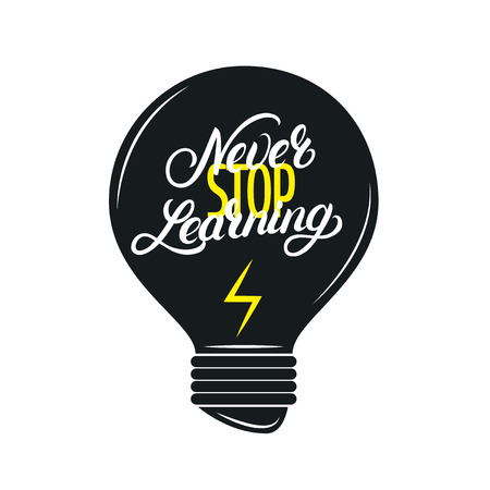 Never stop learning hand written lettering quote. Modern brush calligraphy. Motivational phrase for poster, card, print. Isolated on background. Vector illustration. Ilustração