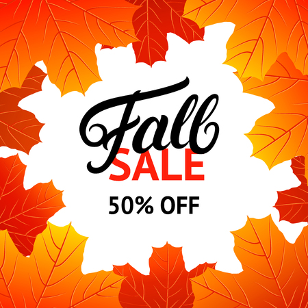 Fall sale design template with hand written lettering for poster, card, label, banner. Bright fall leaves. White background. Vector illustration.