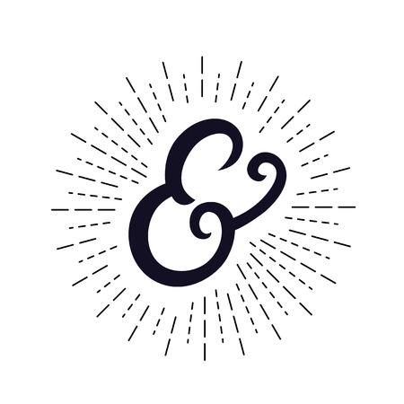 Elegant hand written ampersand with light rays Illustration