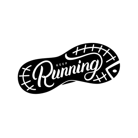 Keep Running hand written lettering quote. Illustration