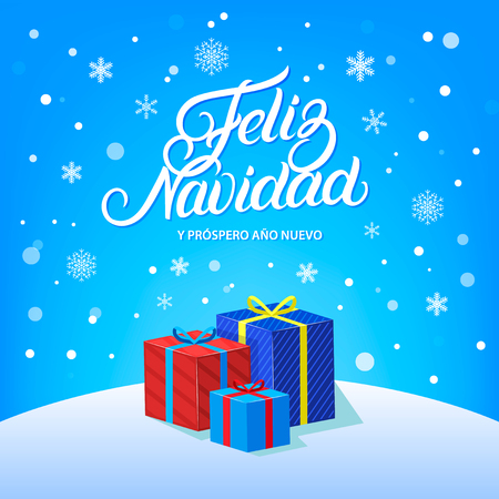 Feliz Navidad hand written lettering design with falling snow, snowflakes and gifts. Modern brush calligraphy Christmas card. Blue background. Vector illustration.