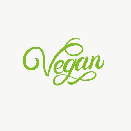 Vegan hand written lettering. Modern calligraphy for label, logo, badge,emblem. Isolated on background. Vector illustration Illustration