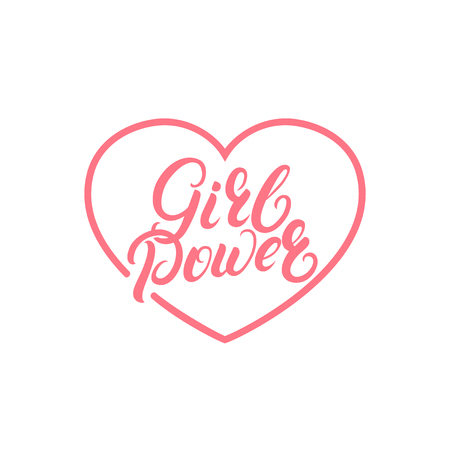 Girl Power hand written lettering quote on heart. Feminist phrase. Isolated on background. Vector illustration.
