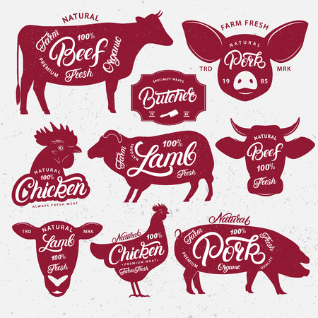 Set of butchery logo, label, emblem, poster. Farm animals with lettering words. Vintage style. Farm animals and heads silhouettes collection for meat stores, butchery shop, farmers market. Vector. Stock Illustratie