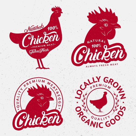 Set of Chicken logos, labels, prints, posters for butcher shop, farmer market, meat stores. Red hen head, body silhouettes. Chicken hand written lettering word. Vintage style. Vector illustration