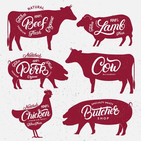 도살 로고, 레이블, 엠 블 럼, 포스터의 집합입니다. 레터링 단어로 농장 동물. 빈티지 스타일. 농장 동물 실루엣 식료품 점, 고기 상점, 도살장, 농민 시