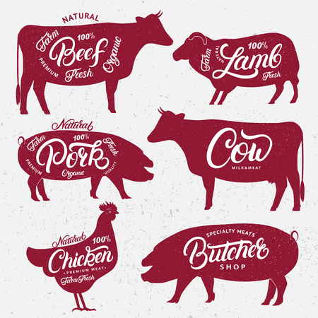 Set of butchery logo, label, emblem, poster. Farm animals with lettering words. Vintage style. Farm animals silhouettes collection for groceries, meat stores, butchery shop, farmers market. Vector. Çizim