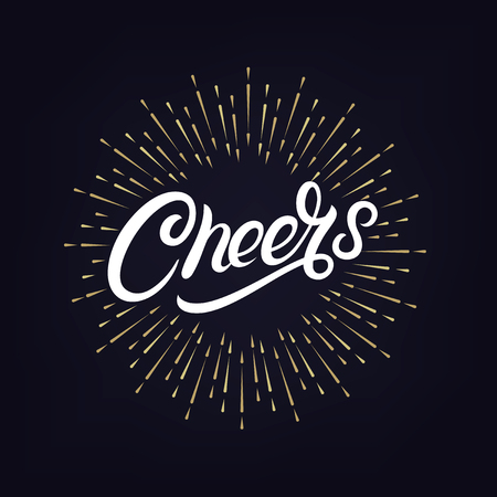 Cheers hand written lettering with festive firework or confetti explosion. Retro label with golden burst or light rays. Modern brush calligraphy for greeting card, poster. Vettoriali