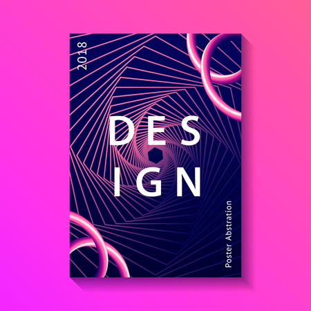 Creative design poster. Modern trendy style abstraction background. Abstract gradient lines with liquid color shapes. Dark blue background. Illustration