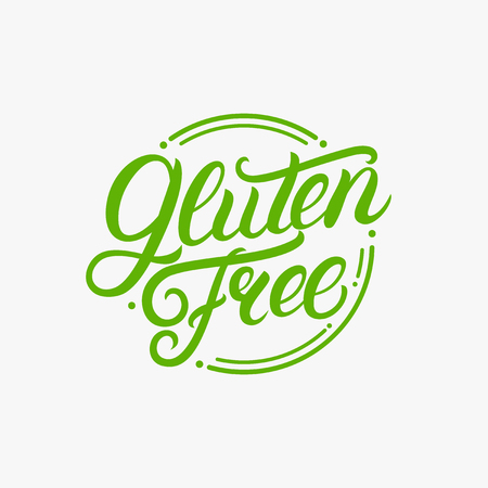 Gluten free hand written lettering logo, label, badge, emblem for organic food, products packaging, farmer market. Vintage style. Calligraphic inscription. Isolated. Vector illustration.