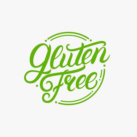 Scritto a mano senza glutine lettering logo, etichetta, badge, emblema per alimenti biologici, confezionamento prodotti, mercato contadino. Stile vintage. Iscrizione calligrafica Isolato. Illustrazione vettoriale