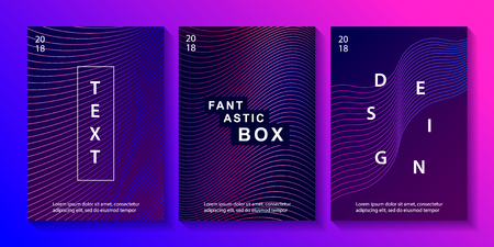 Set of minimal geometric coverages. Modern abstract gradient lines. Trendy style. Futuristic templates for poster, banner, invitation, cover. Vector illustration