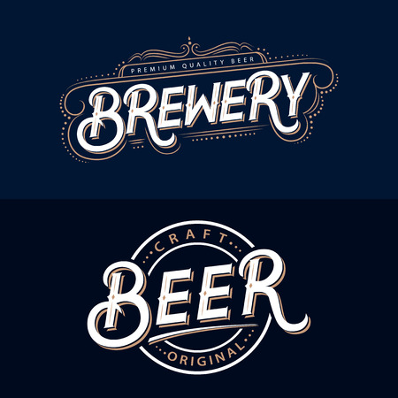 Set of Beer and Brewery hand written lettering logos, labels, badges for beer house, brewing company, pub, bar. Vintage retro typography. Vector illustration.