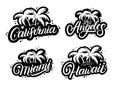 Set of typography graphic prints with palms silhouettes vector illustration