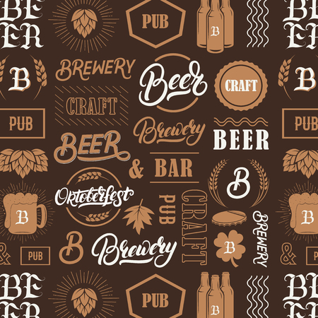 Seamless pattern with hand written lettering words beer, brewery, oktoberfest and silhouettes of beer mug, bottle, hop, wheat ear. Vintage pattern for placemat, bar menu, prints, coaster. Vector.