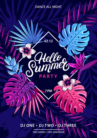 Hello Summer hand written lettering text with palm and monstera leaves, tropical plant and flowers. Trendy colorful banner. Beach party flyer, invitation. Vector illustration. Illustration