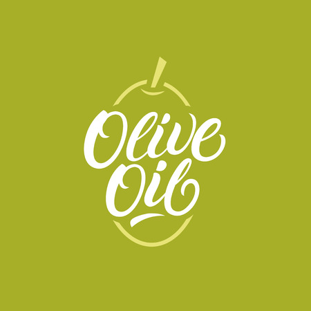 Olive oil hand written lettering, label, emblem.