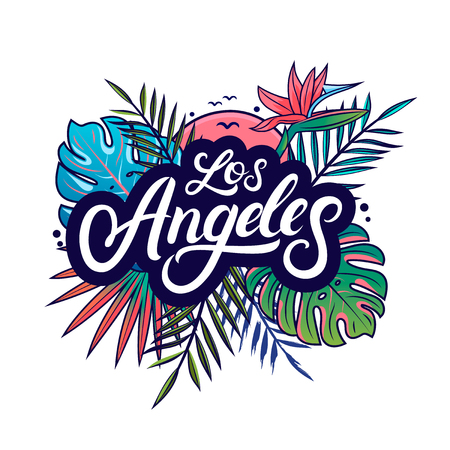 Los Angeles hand written lettering text with palm and monstera leaves, tropical plant, flowers, sun, birds. Use for tee print, sticker, poster. Isolated on background. Vector illustration. Illustration
