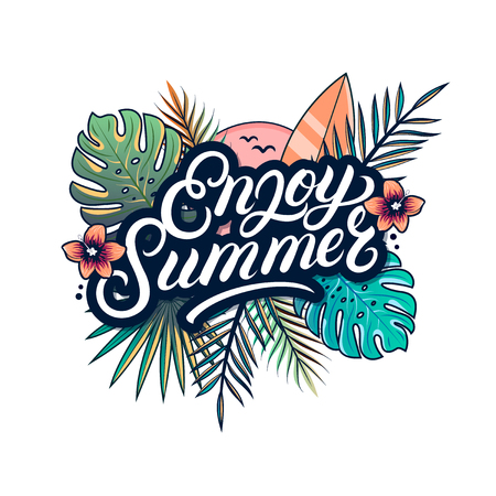 Enjoy summer hand written lettering text Illustration
