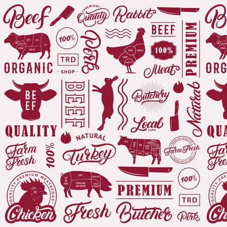 Typographic butchery seamless pattern, background. Farm animals silhouettes and hand writen lettering text elements for groceries, meat stores, packaging and advertising. Vector illustration.