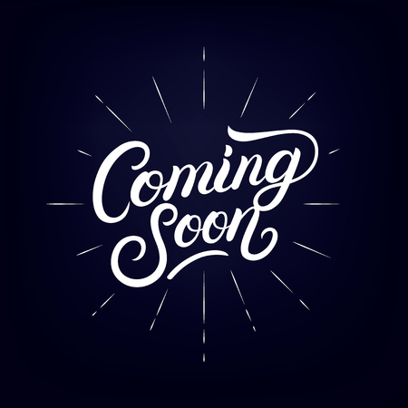 Coming soon hand written lettering poster design concept with with festive firework or confetti explosion.