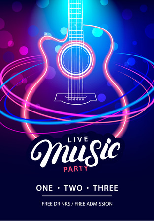 Live Music Party design template with text, guitar silhouette and speed movement lights. Use for flyer, banner, poster, invitation. Retro vintage style. Vector illustration.