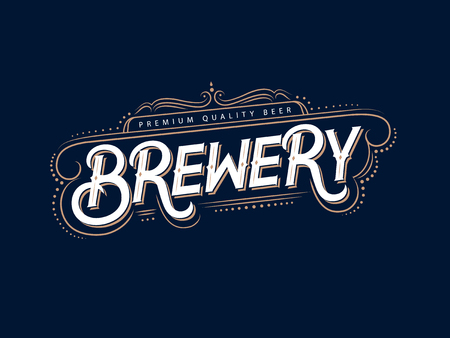 Brewery hand written lettering text. Vintage logo, label, badge for beer house, brewing company, pub, bar. Retro typography. Vector illustration